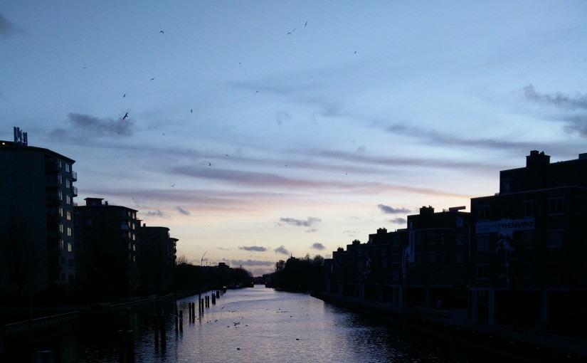 Amsterdam ondergaande zon